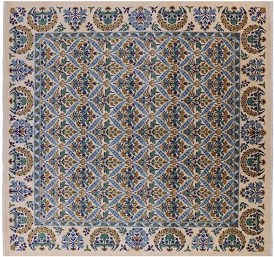 Square William Morris Hand-Knotted Wool Rug