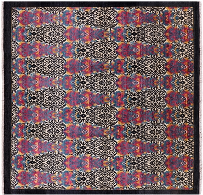 Hand Knotted William Morris Square Rug