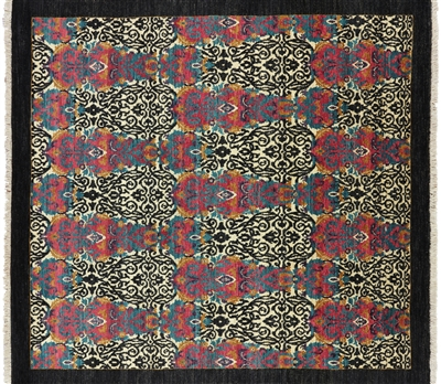 Square Hand Knotted Wool William Morris Oriental Rug