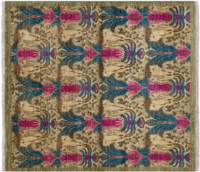 Square William Morris Design Handmade Wool Rug