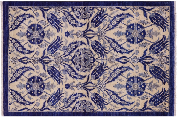 Oriental Suzani Hand Knotted William Morris Design Wool Rug