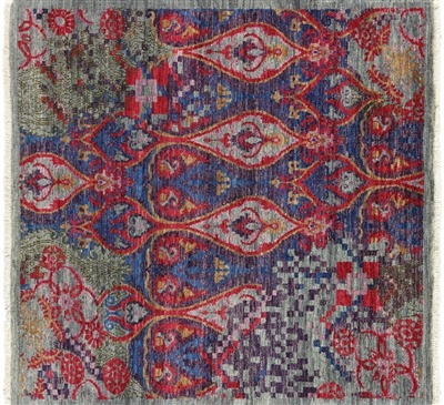 Square Hand Knotted Modern Abstract Design Rug