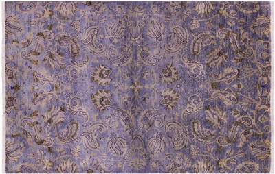 Hand Knotted Modern Oriental Full Pile Wool Overdyed Area Rug