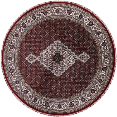 Round Wool & Silk Hand-Knotted Persian Tabriz Rug