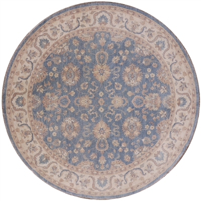 Round Peshawar Hand Knotted Area Rug