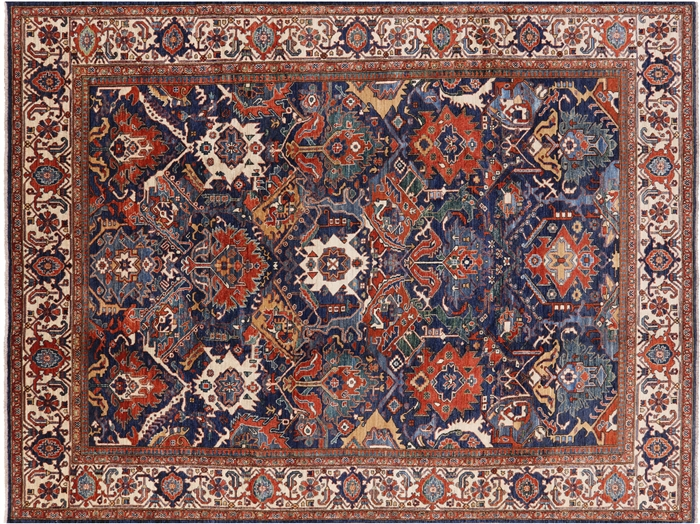 Blue Fine Serapi Hand Knotted Oriental Rug