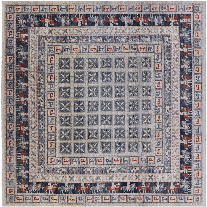 10' Square Antiqued Pazyryk Historical Design Hand Knotted Rug