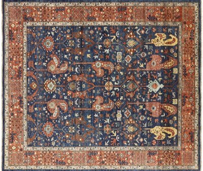 Oriental Blue Fine Serapi Hand Knotted Wool Rug