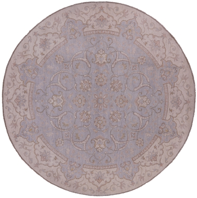Round White Wash Peshawar Area Rug