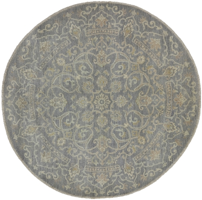 Round Hand Knotted White Wash Peshawar Area Rug