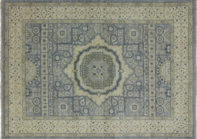 White Wash Peshawar Hand Knotted Mamluk Design Area Rug