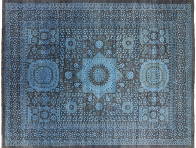 Overdyed Full Pile Wool Hand Knotted Mamluk Design Rug