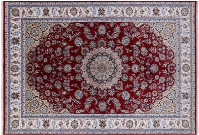 Hand Knotted Persian Nain Wool & Silk Area Rug