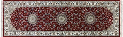 Runner Hand Knotted Wool & Silk Persian Nain Rug