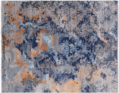 Persian Hand Knotted Wool & Silk Abstract Design Rug