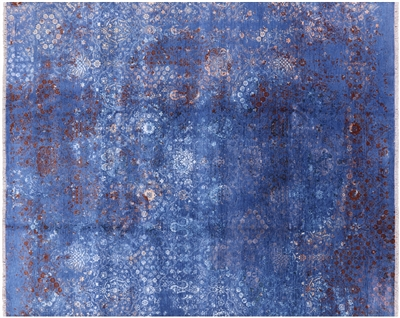 Contemporary Hand Knotted Wool & Silk Persian Rug