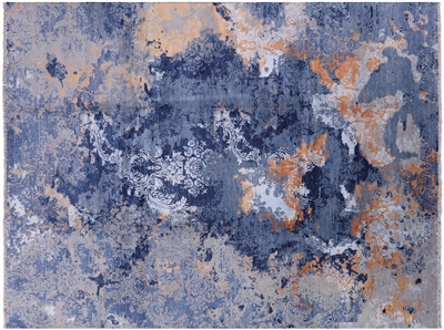 Hand Knotted Wool & Silk Contemporary Rug