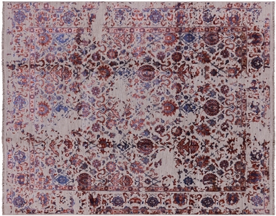 Modern Hand Knotted Persian Wool & Silk Area Rug