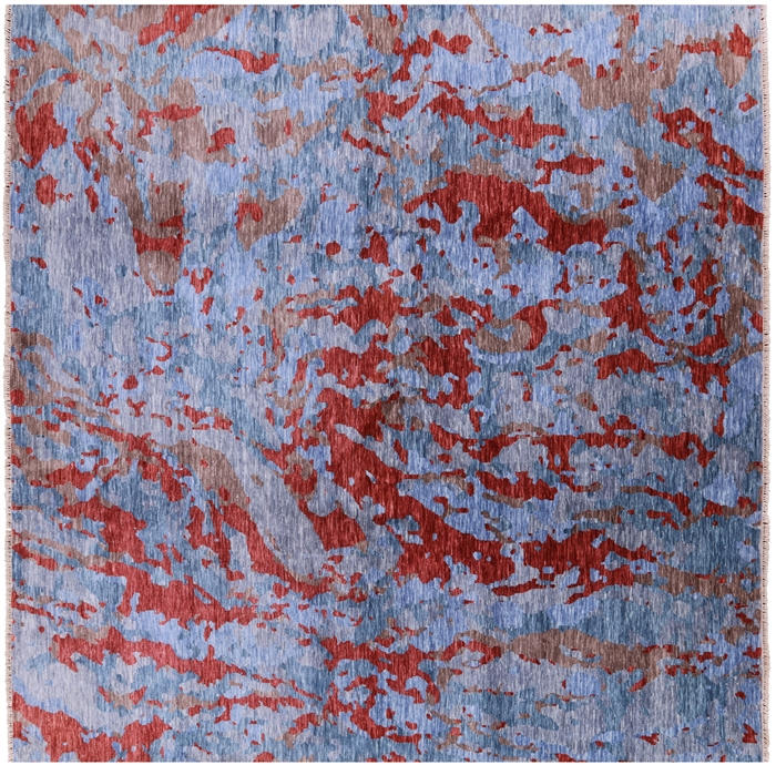 Square Modern Hand Knotted Wool Abstract Design Rug