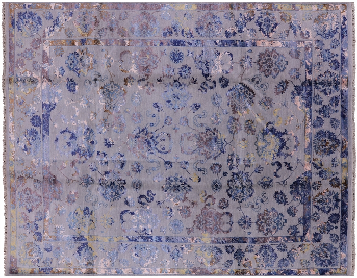 Modern Hand Knotted Persian Wool & Silk Floral Area Rug