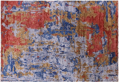 Modern Abstract Hand Knotted Wool Area Rug