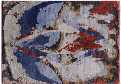 Abstract Hand Knotted Wool Modern Rug