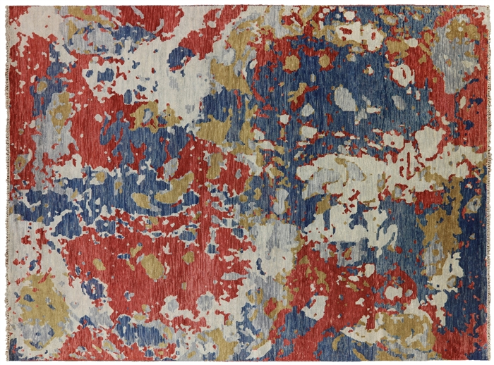 Abstract Hand Knotted Oriental Wool Area Rug