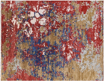 Abstract Hand Knotted Wool Oriental Area Rug