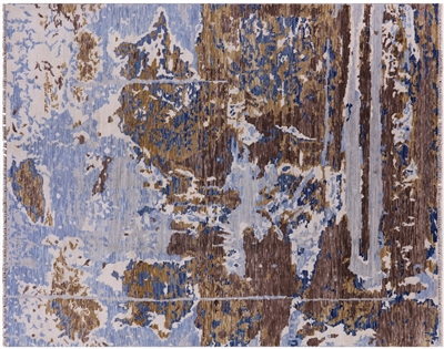 Modern Hand Knotted Wool Abstract Oriental Rug