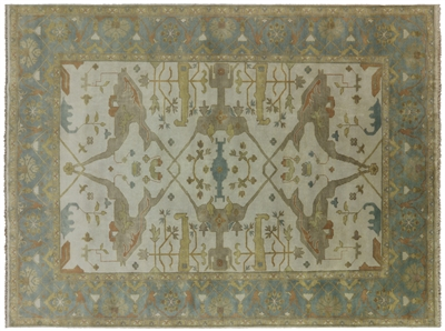 Fish Design Hand Knotted Oushak Rug
