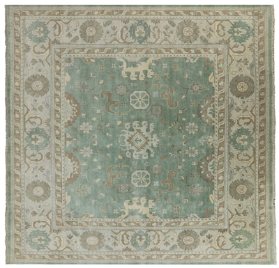 Square Oriental Oushak Hand Knotted Wool Rug