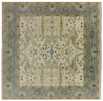 Square Hand Knotted Oushak Oriental Rug
