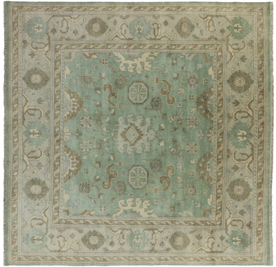 Hand Knotted Wool Oriental Oushak Square Rug