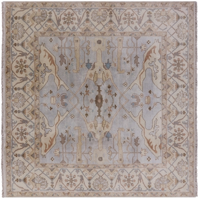 Square Traditional Wool Handmade Oushak Rug
