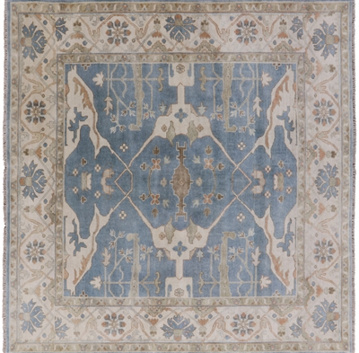 Hand Knotted Oushak Square Rug