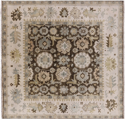 Traditional Hand Knotted Wool Oushak Square Rug