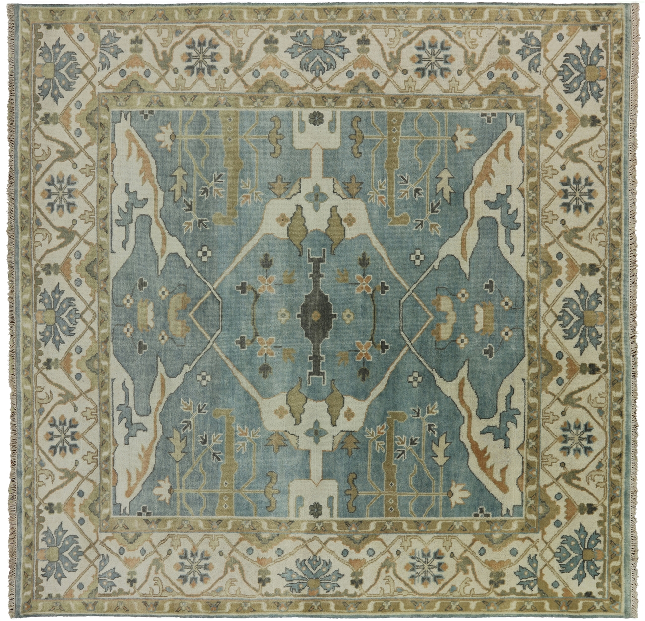 eac7806cc6f Hand Knotted Oushak Fish Design 8 X 8 Square Rug