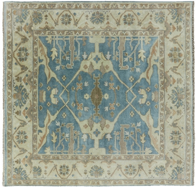 Square Hand Knotted Oriental Oushak Rug