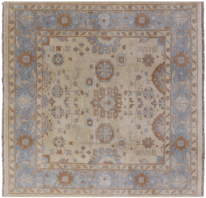 Hand Knotted Oushak Oriental Square Rug