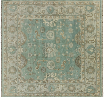 Hand Knotted Oushak Square Area Rug
