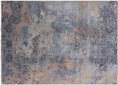 Contemporary Persian Hand Knotted Wool & Silk Area Rug