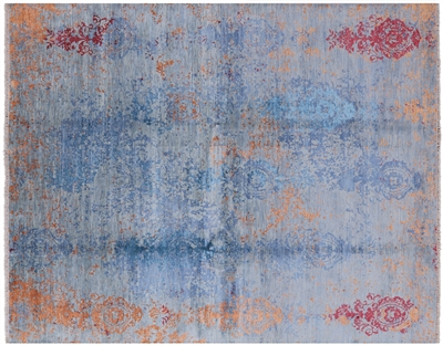 Contemporary Hand Knotted Wool & Silk Persian Area Rug
