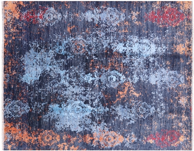 Abstract Hand Knotted Wool & Silk Area Rug