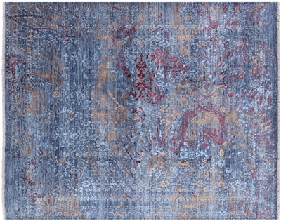 Contemporary Hand-Knotted Wool & Silk Persian Area Rug
