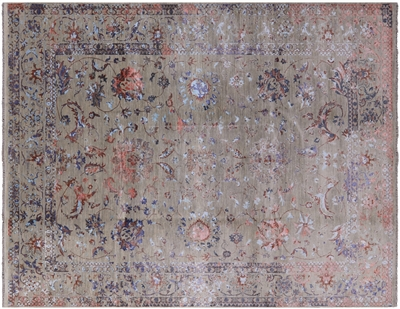 Hand Knotted Wool & Silk Persian Area Rug