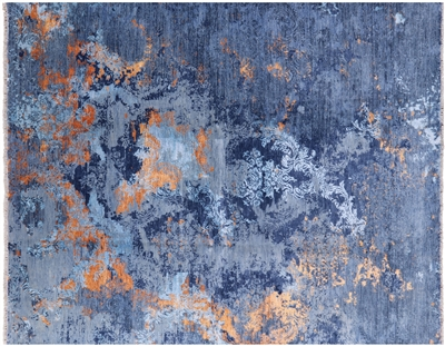 Wool & Silk Hand Knotted Contemporary Oriental Area Rug