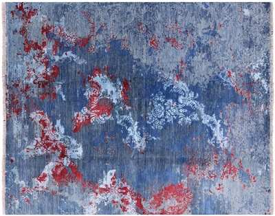 Contemporary Hand-Knotted Wool & Silk Oriental Area Rug