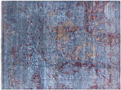 Contemporary Persian Wool & Silk Hand Knotted Rug