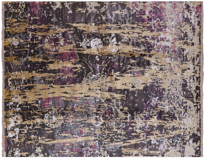 Contemporary Handmade Wool & Silk Oriental Area Rug