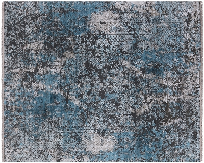 Modern Hand Knotted Pure Silk With Oxidized Wool Area Rug